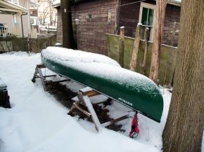 canoe under snow cover